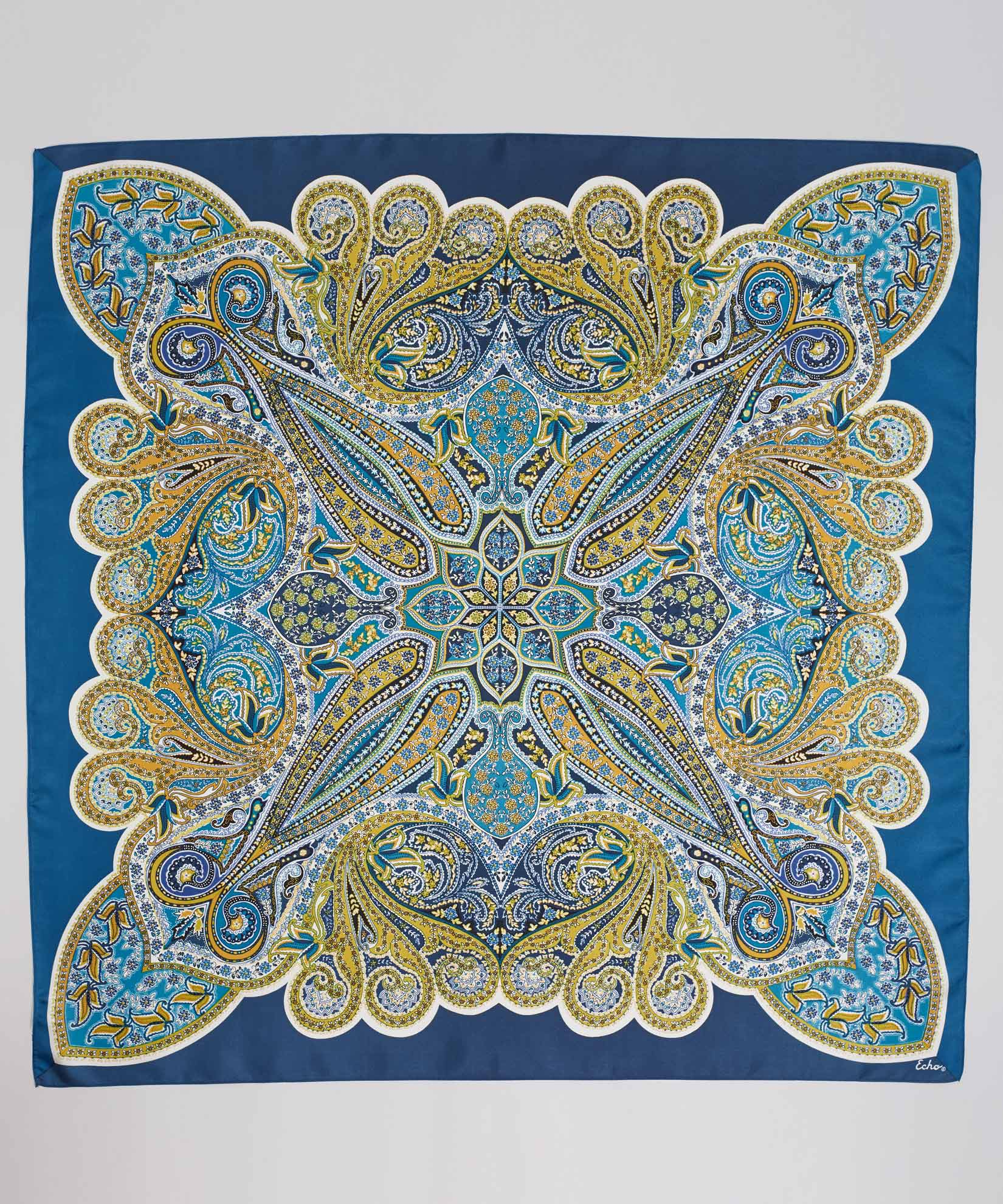 Blue Spruce - Intricate Paisley Silk Square