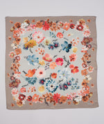 Teak - Painted Floral Silk Square