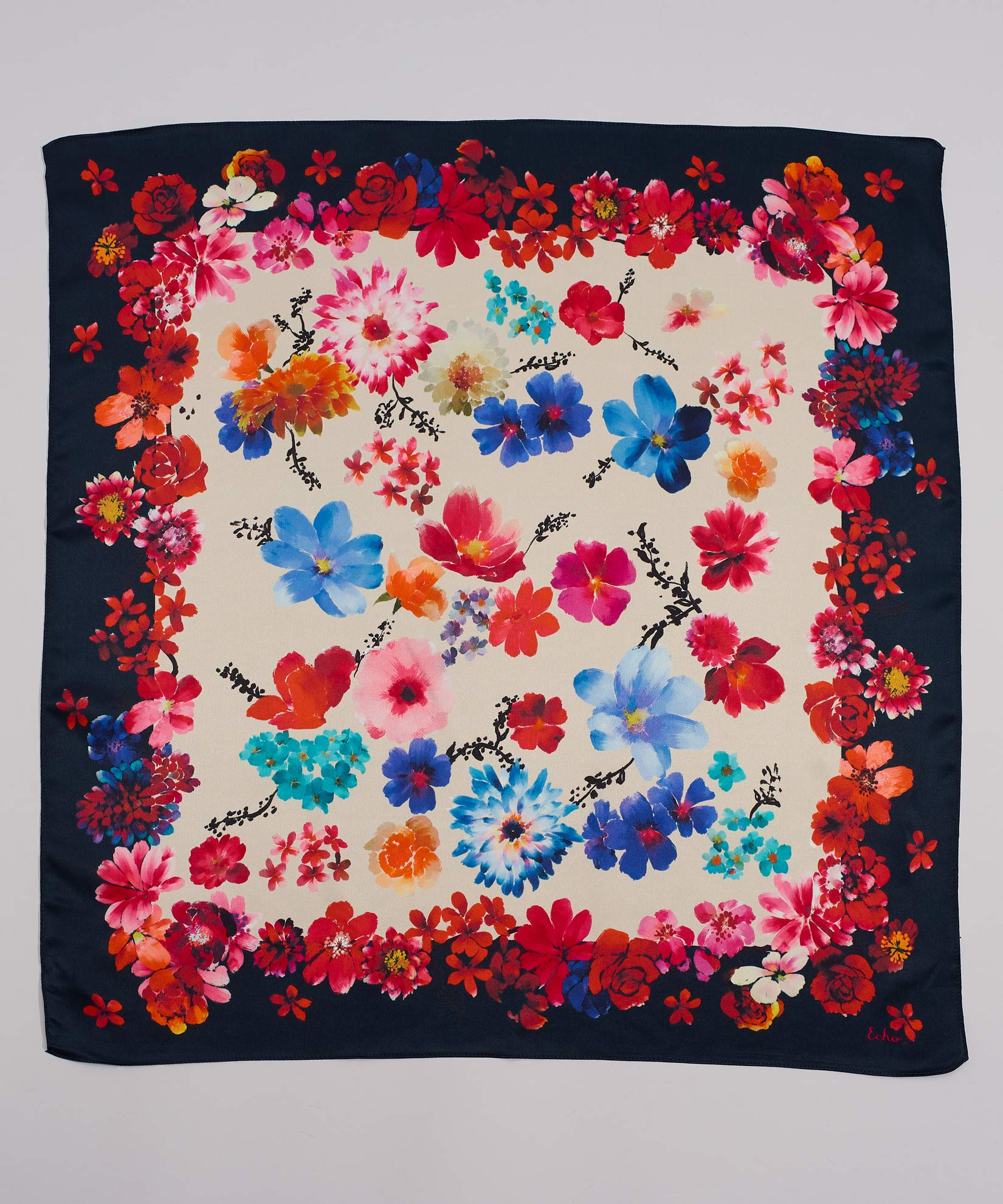 Multi - Painted Floral Silk Square