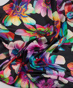 Black - Electric Floral Silk Square