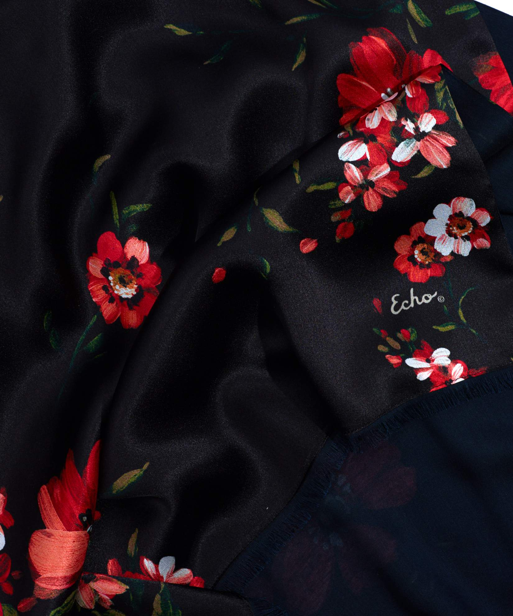 Black - Painterly Floral Tubular Silk Oblong