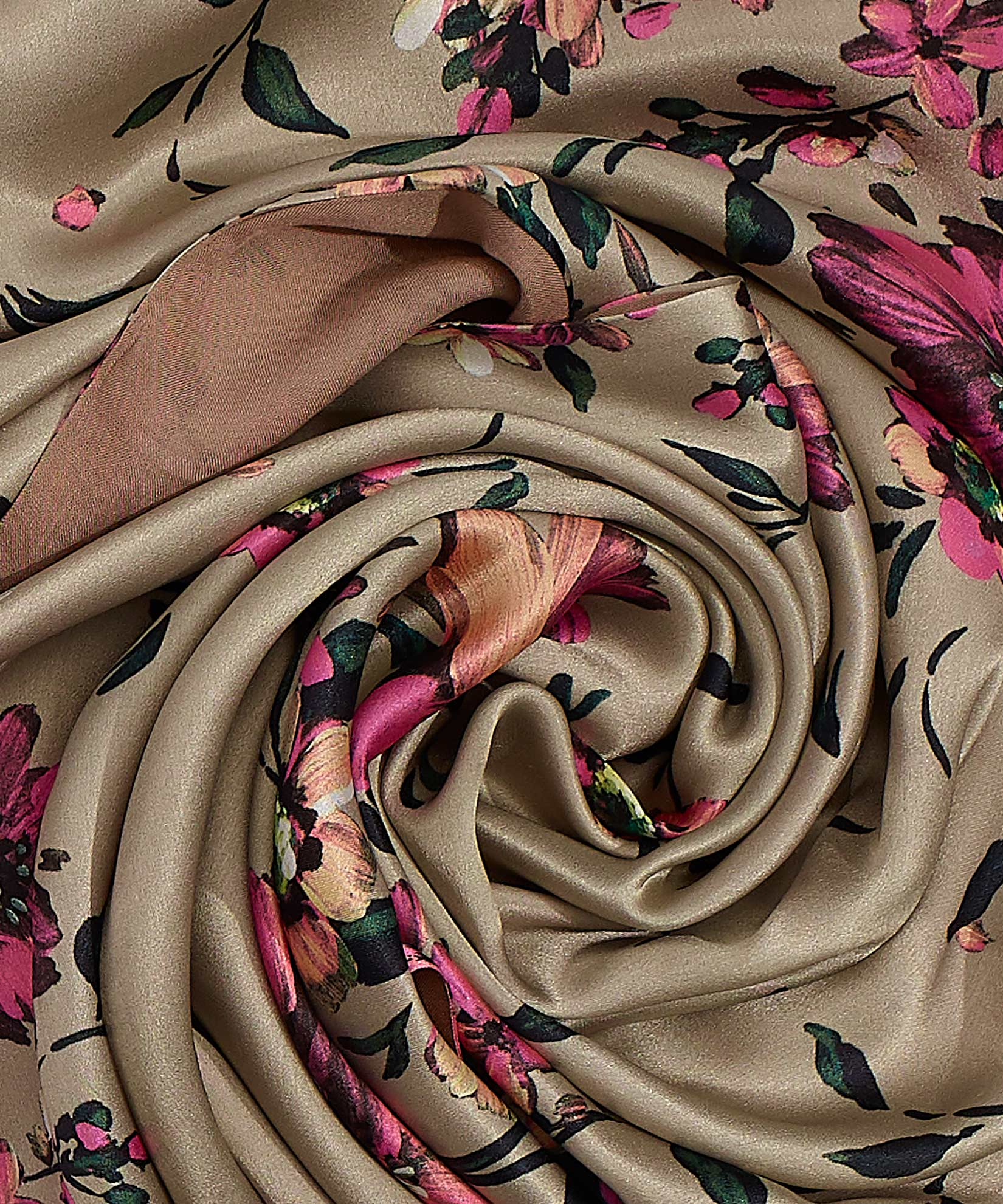 Teak - Painterly Floral Tubular Silk Oblong