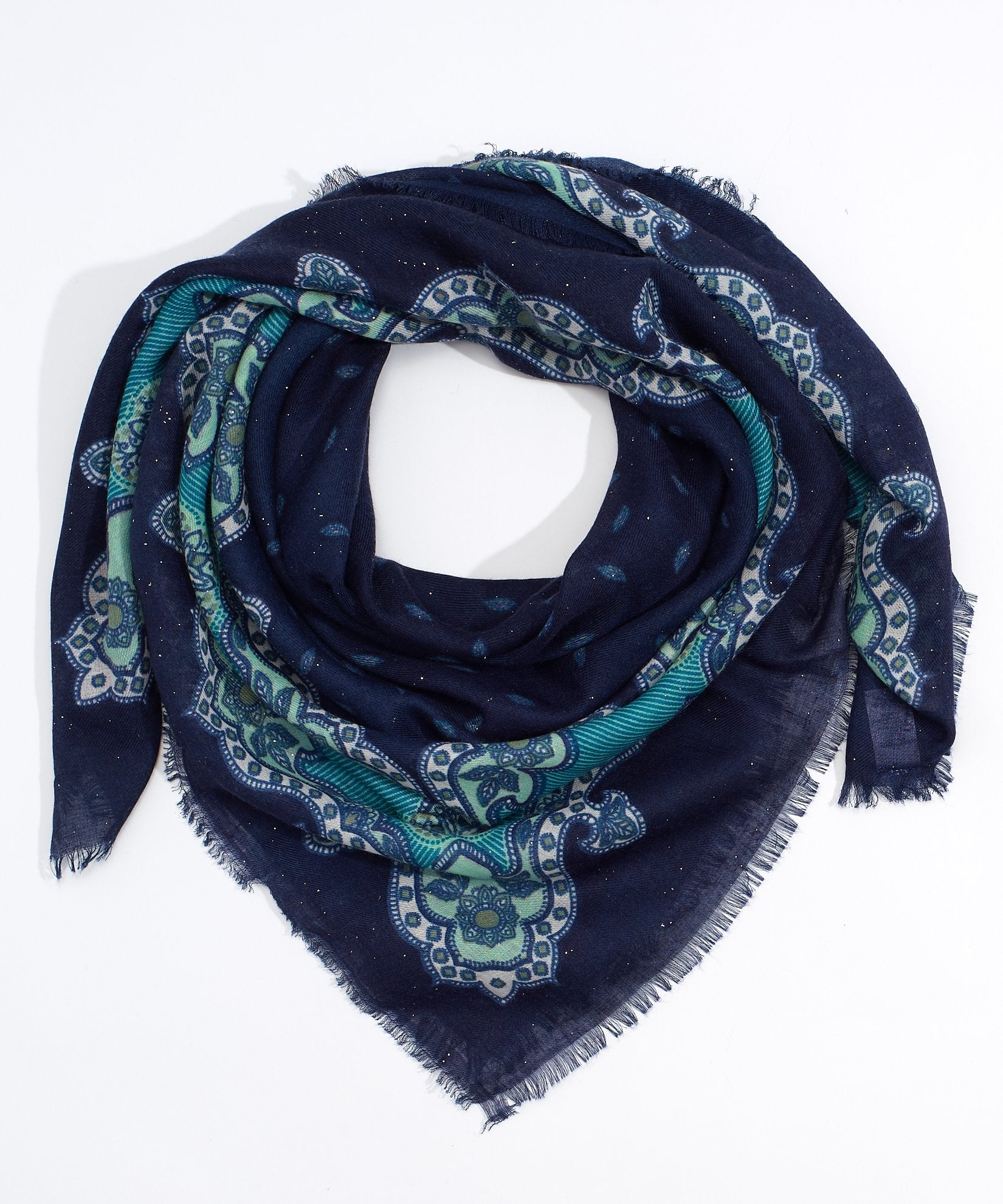 Navy - Icy Paisley Square