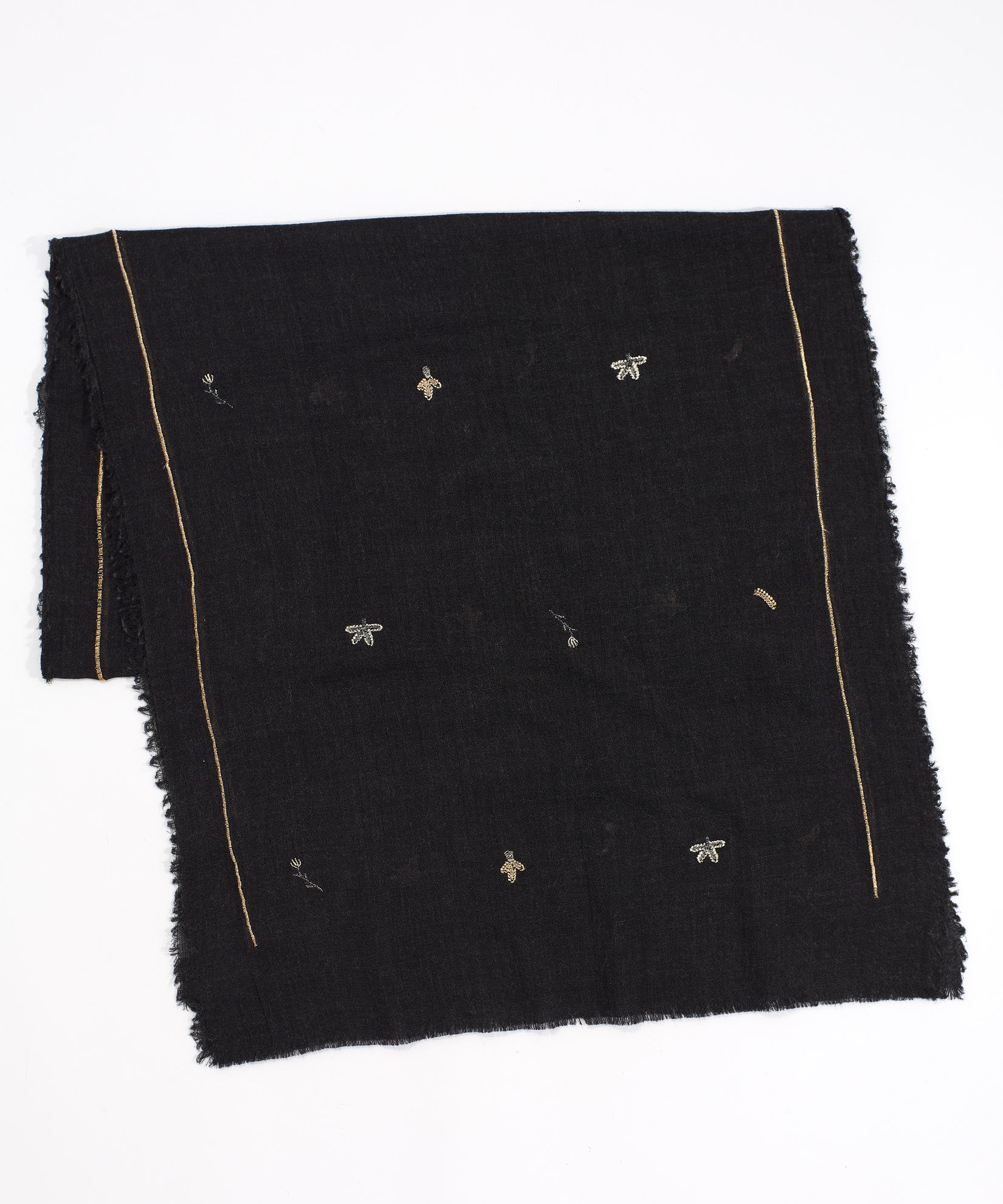 Black - Zari Thread Embroidered Oblong