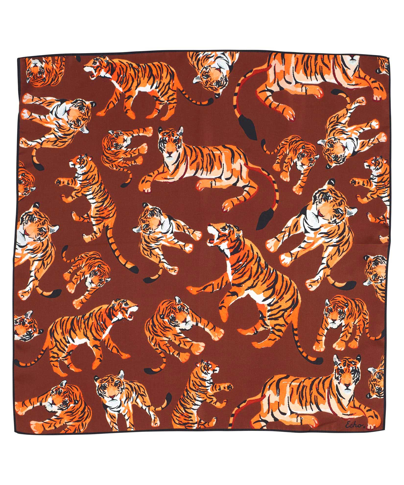 Copper - Prowling Tiger Silk Square