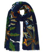 Navy - Lounging Zebra Embroidered Wrap