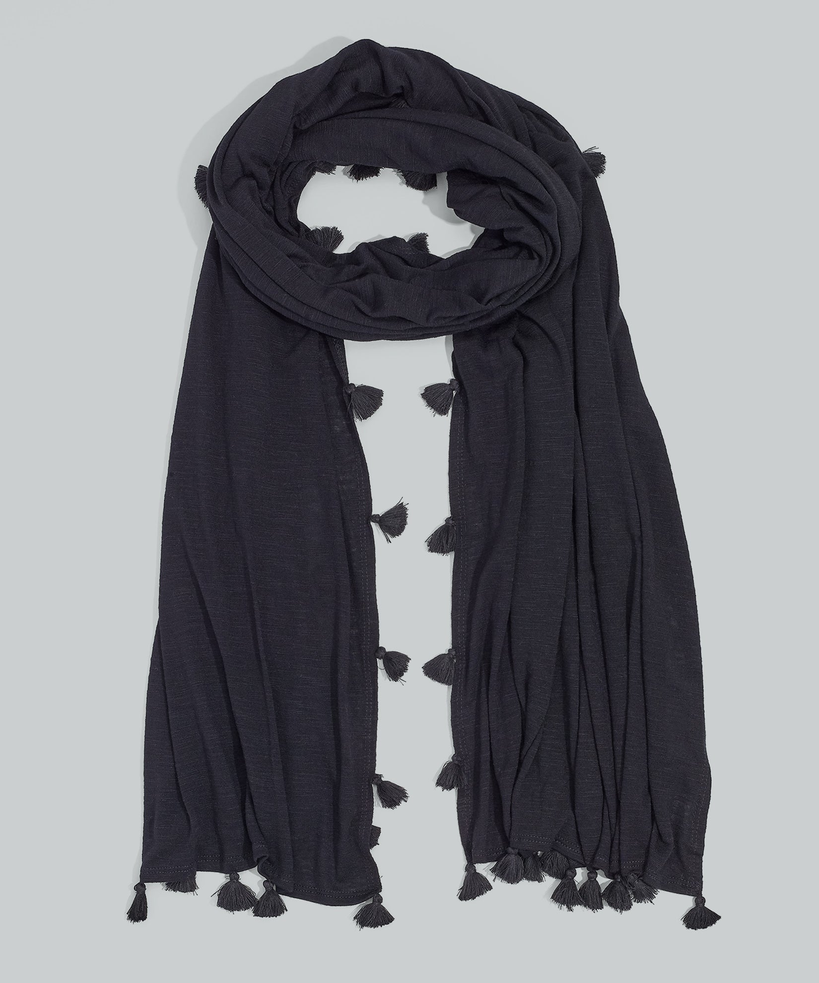 Black - Knit Tassel Wrap