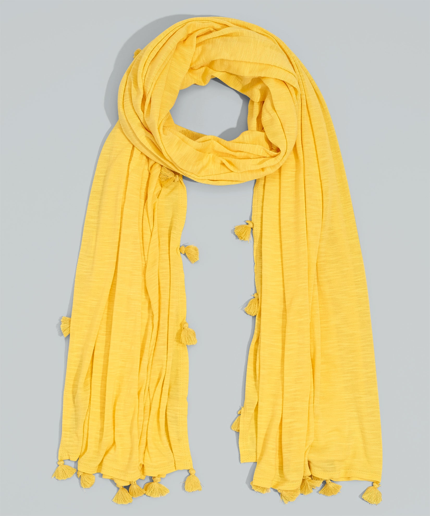 Yellow Glow - Knit Tassel Wrap