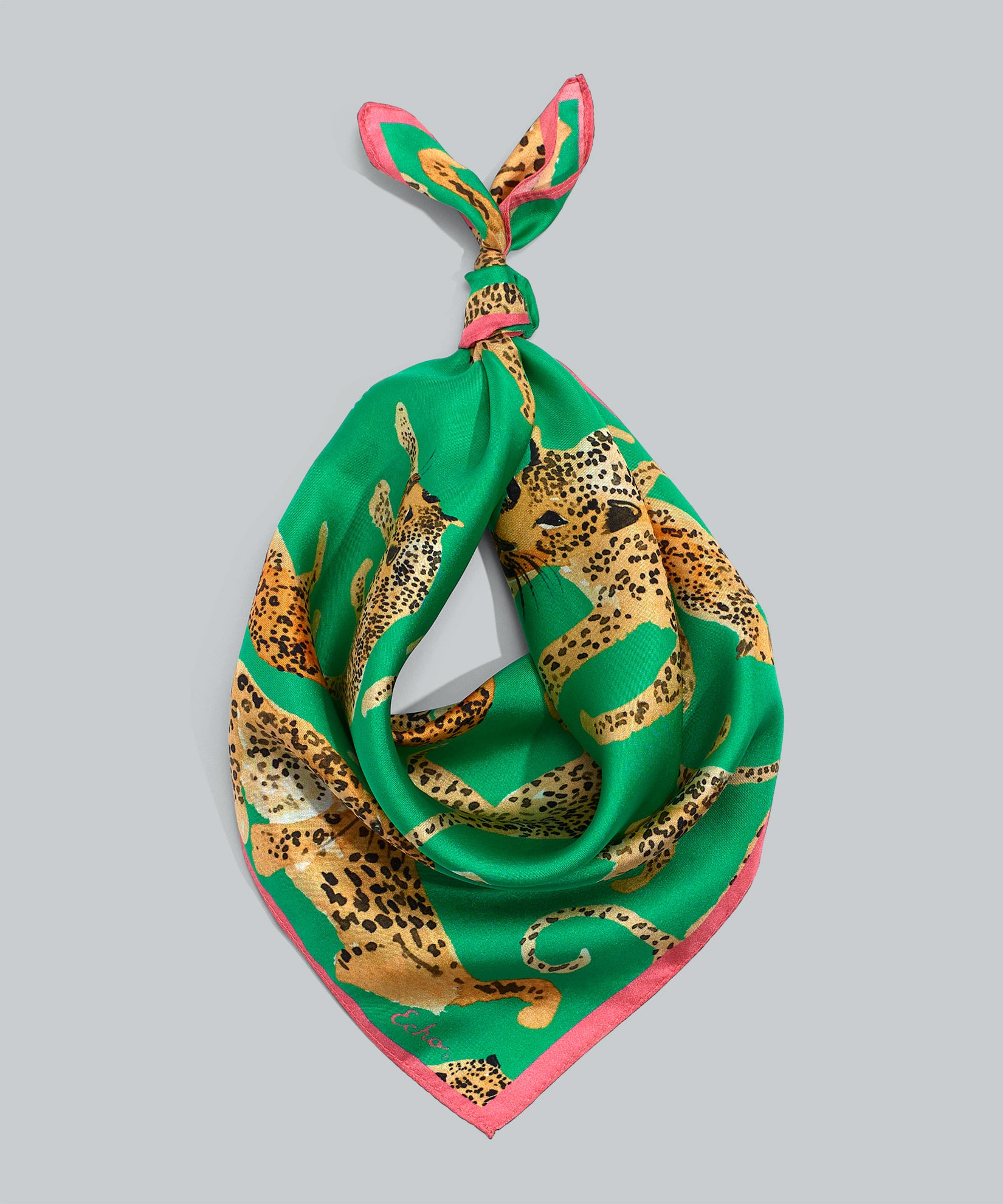 Leaf Green - Prowling Ocelot Silk Square