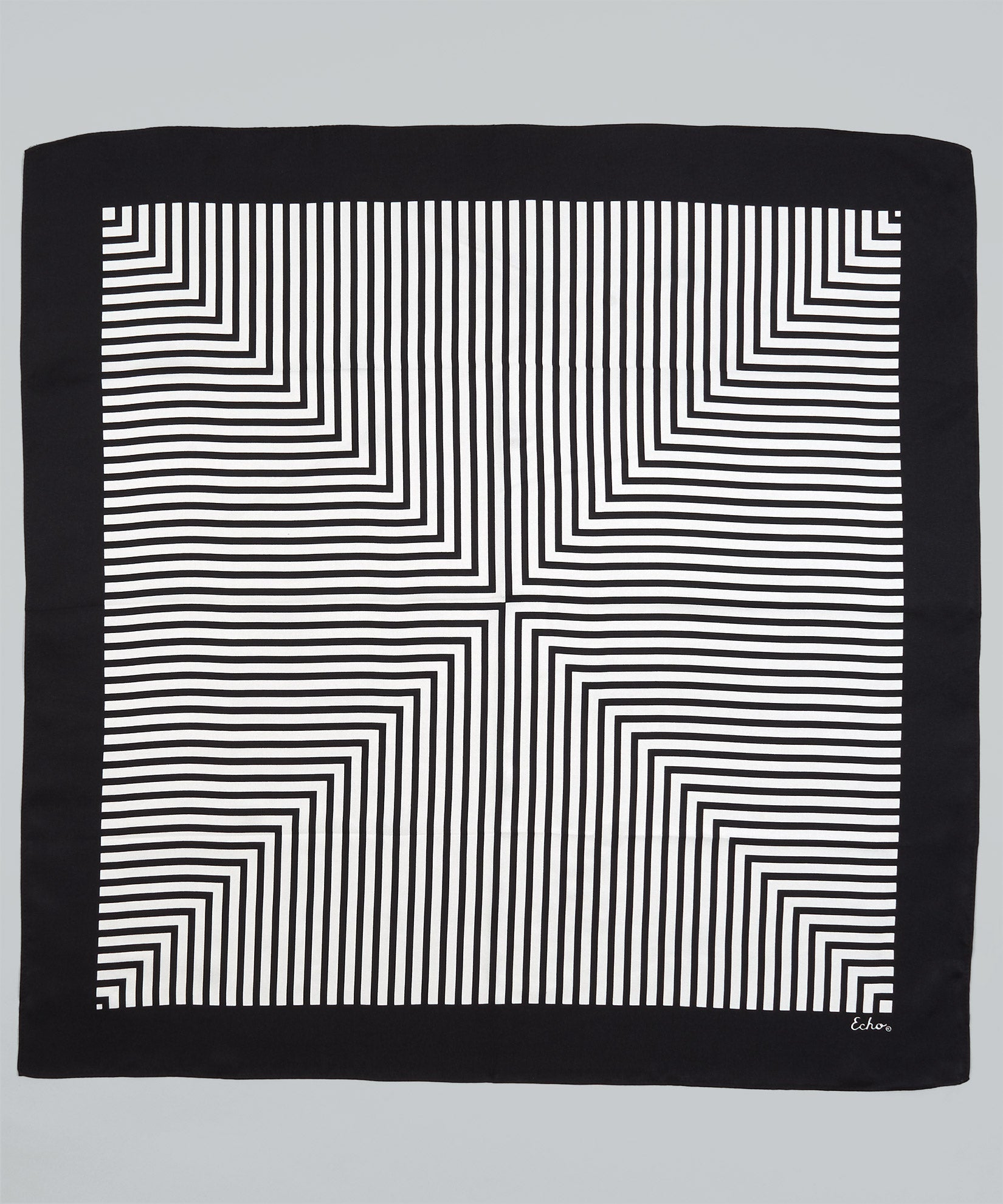 Black - Crisp Stripes Silk Square