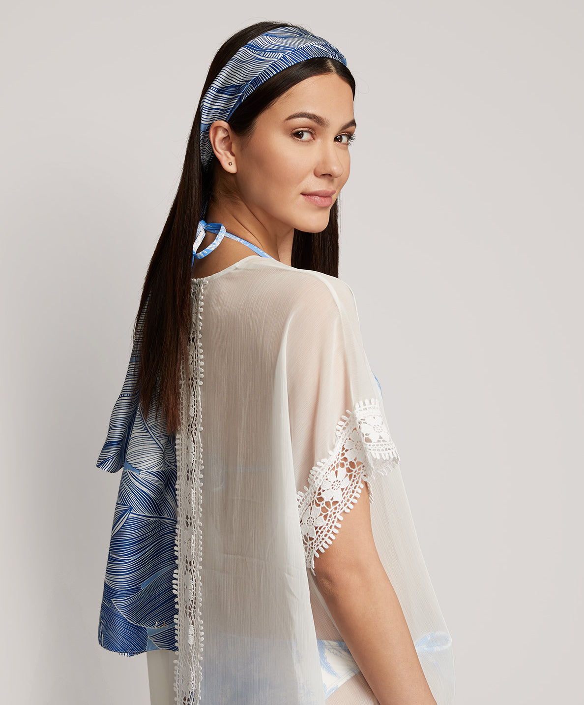 Sea Blue - Tropic Palm Silk Oblong