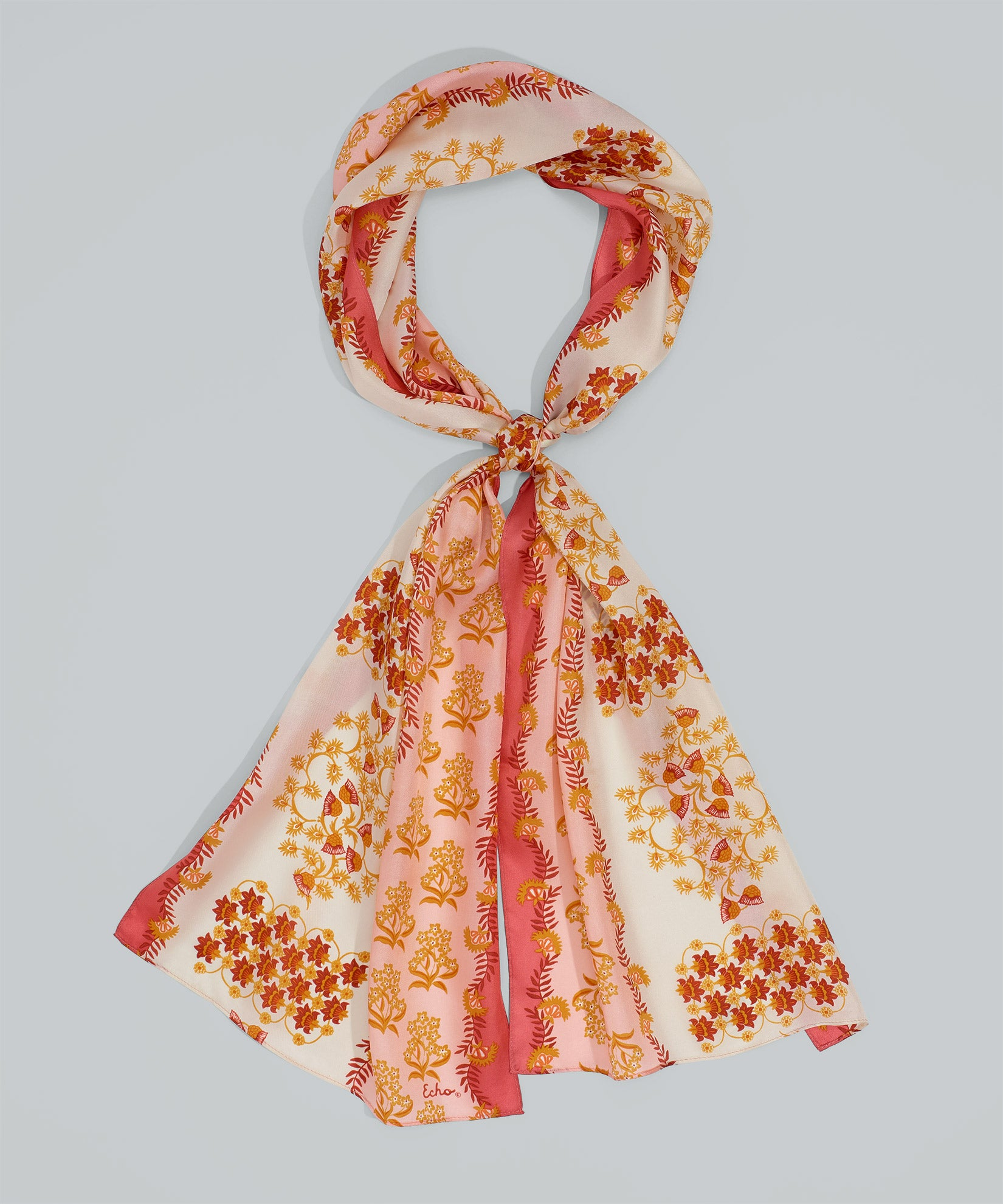 Sunset Coral - Flora Silk Oblong