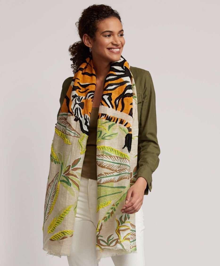 Sand - Tropical Tiger Embroidered Pareo Wrap