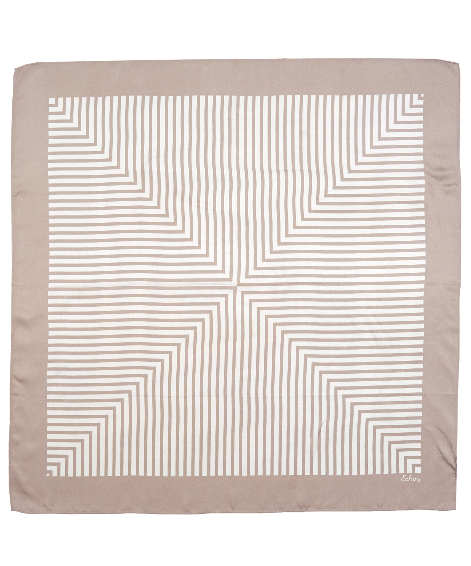 Sand - Crisp Stripes Silk Square