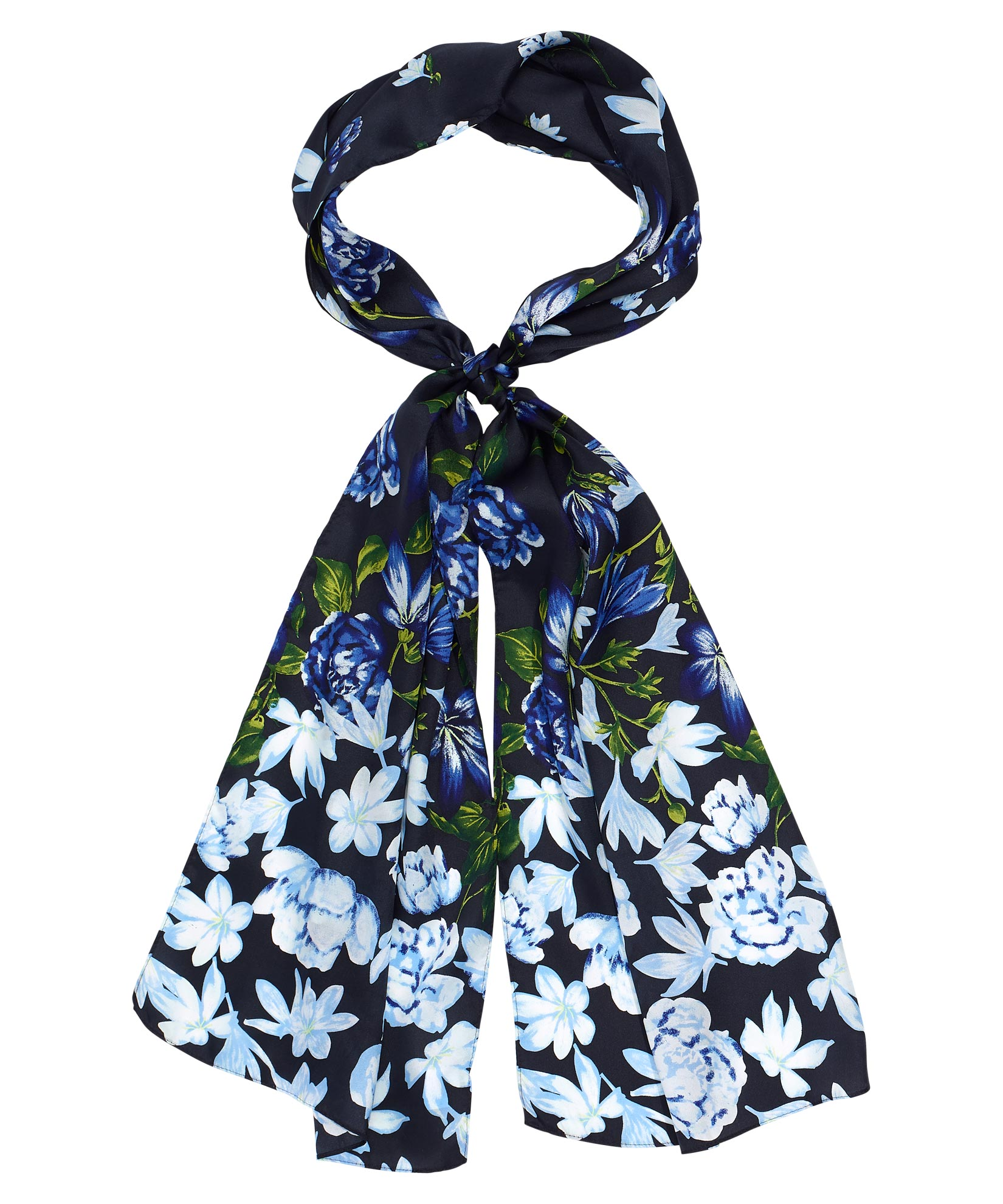 Black - Falling Floral Silk Oblong