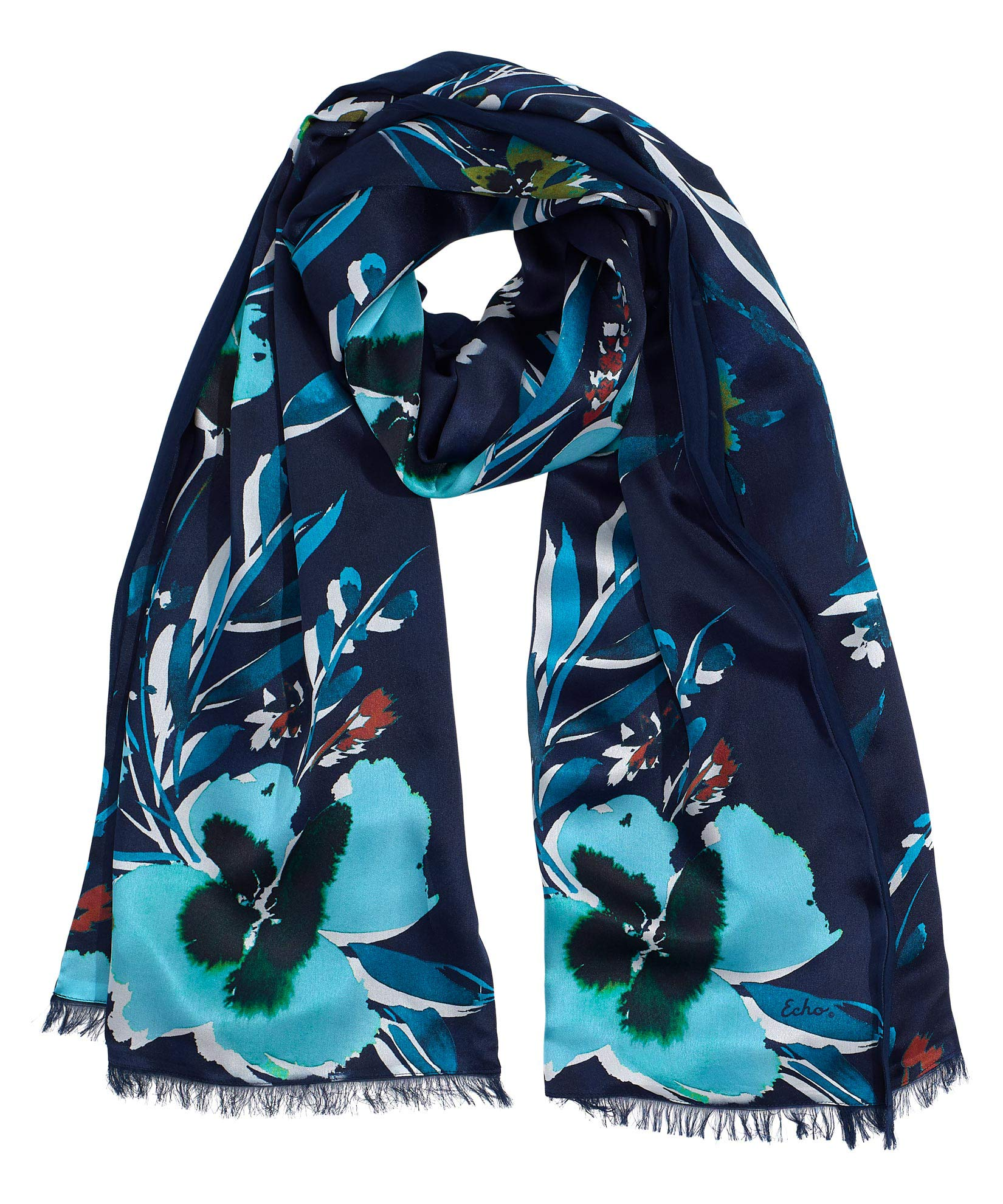 Navy - Fall Floral Silk Tubular