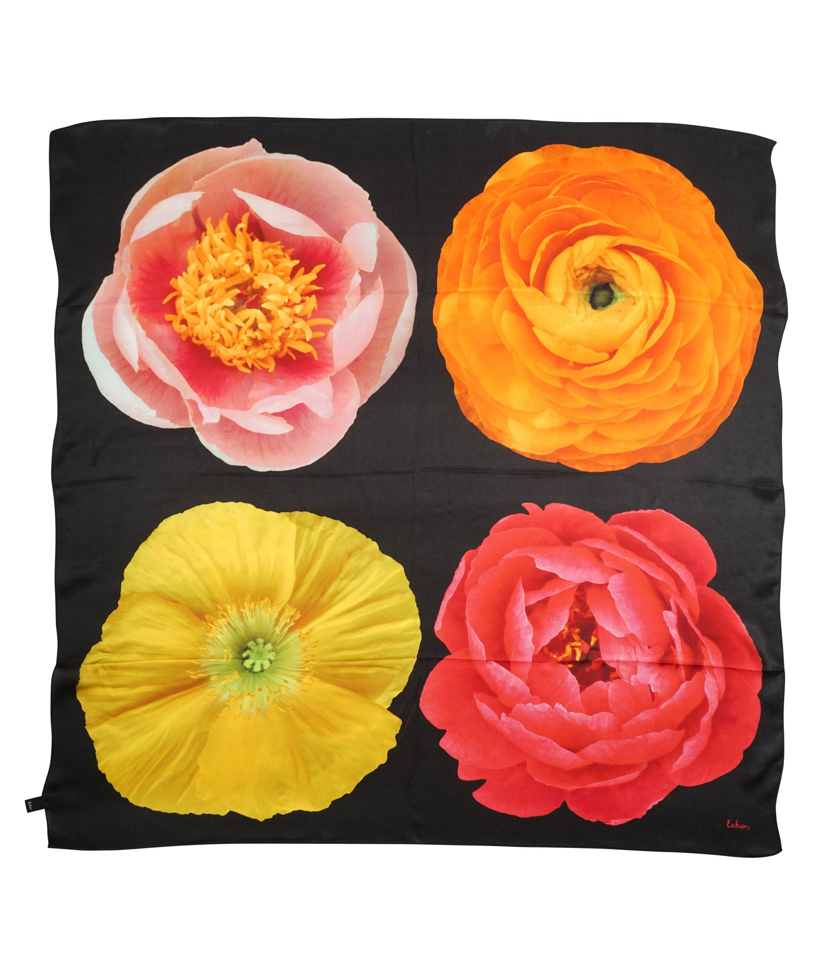 Black - Photo Floral Silk Square