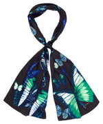 Navy - Dancing Butterflies Silk Oblong