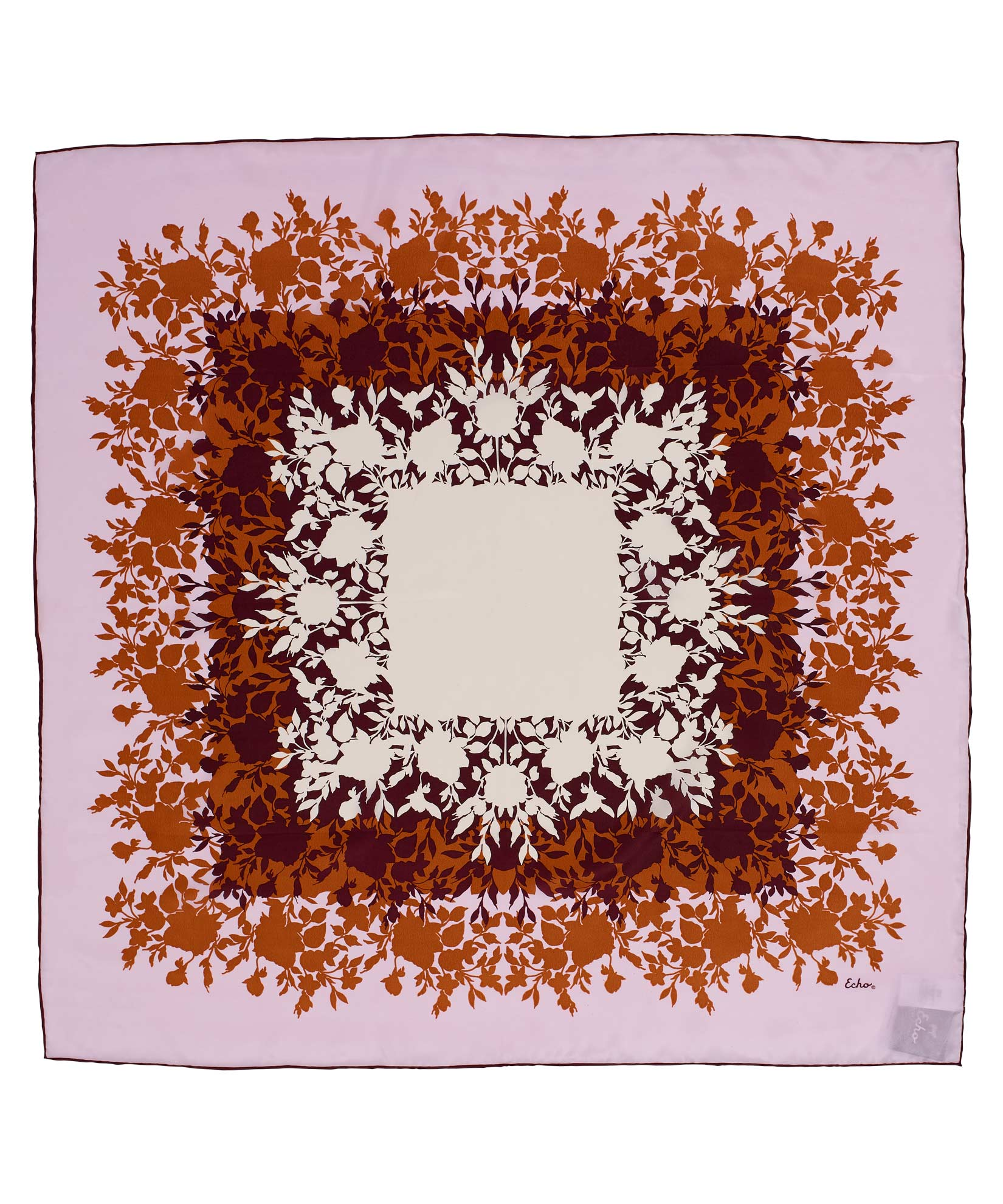 Rose - Silhouette Floral Silk Square