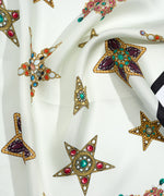 White - Bejewelled Brooch Silk Square