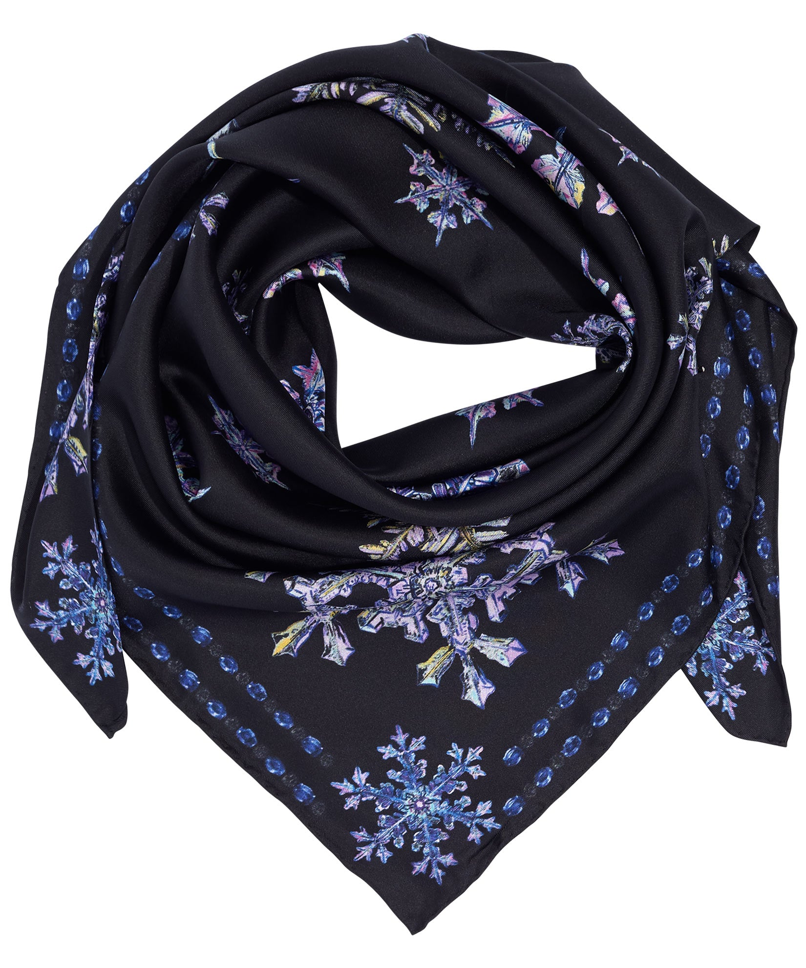 Black - Snowflakes Silk Square