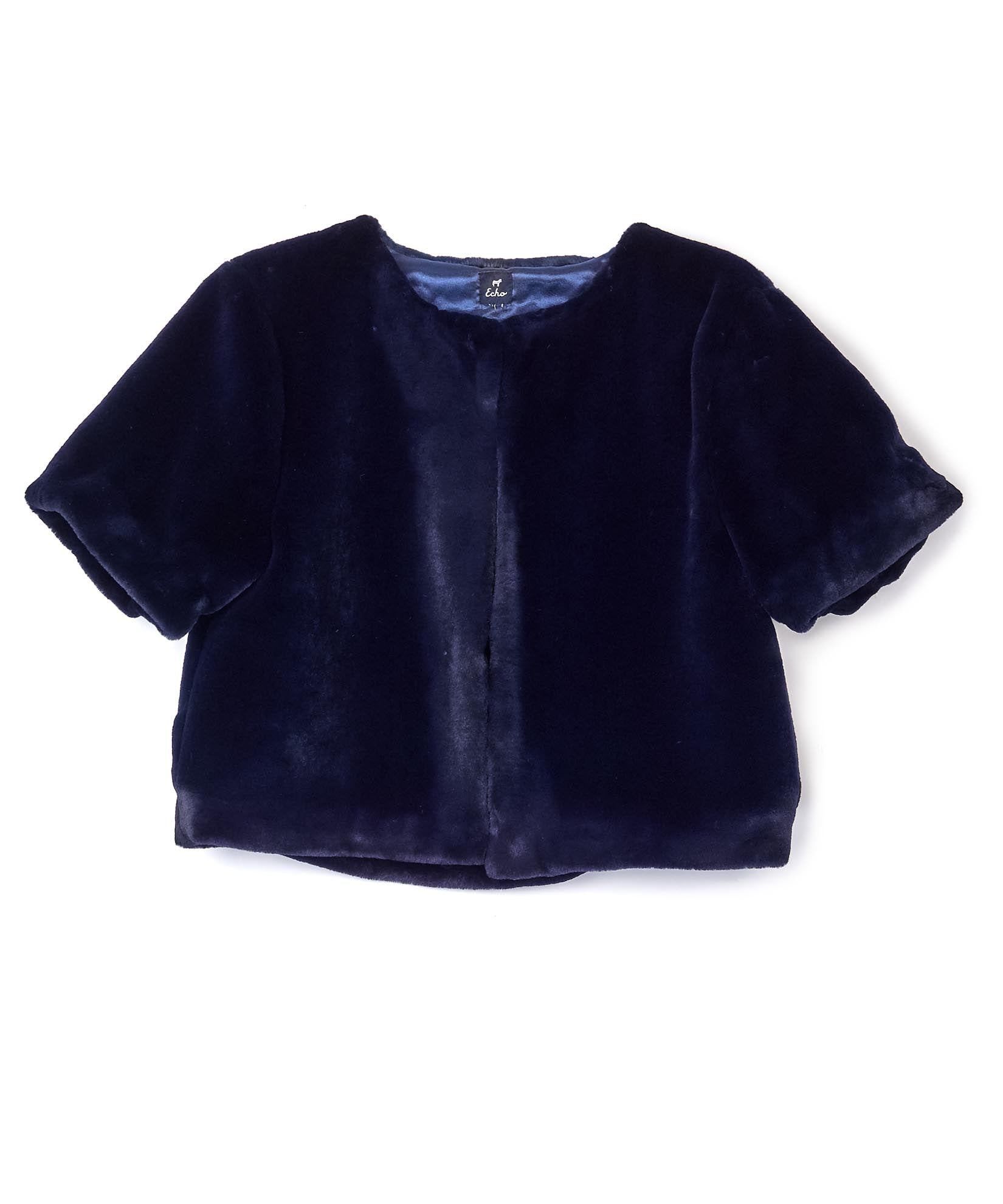 Navy - Plush Crop Jacket