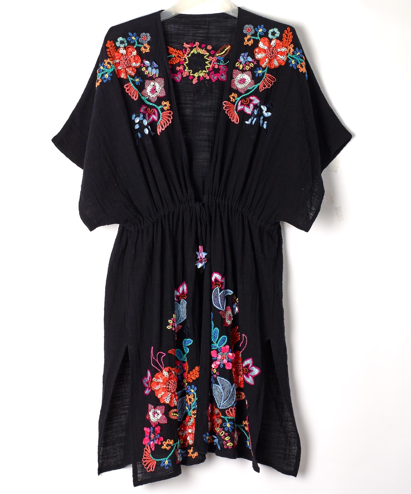Black - Wildflower Open Front Tunic