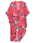 Coral - Paradise Palms Side Cowl Tunic