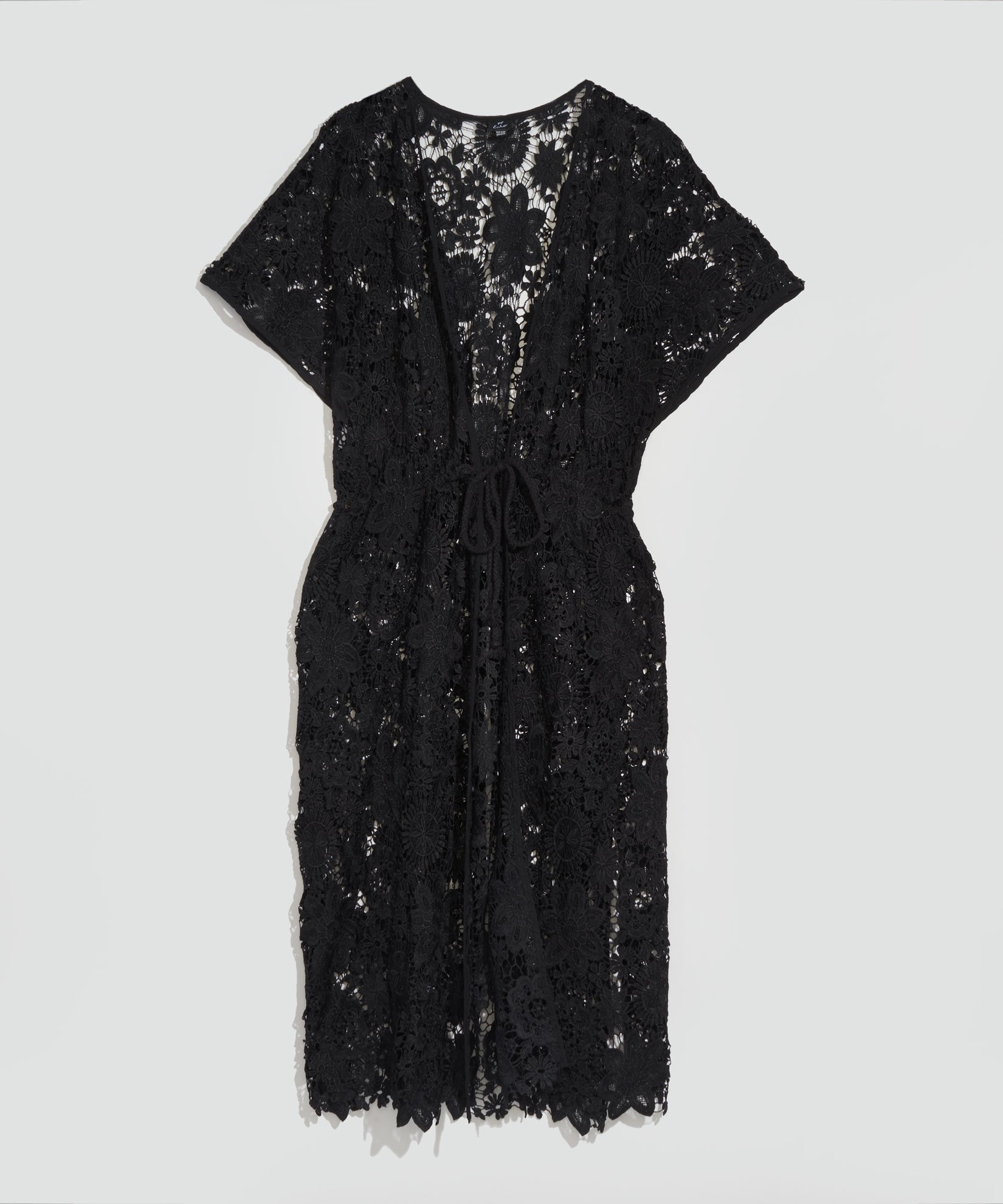 Black - Lace Open Front Tunic