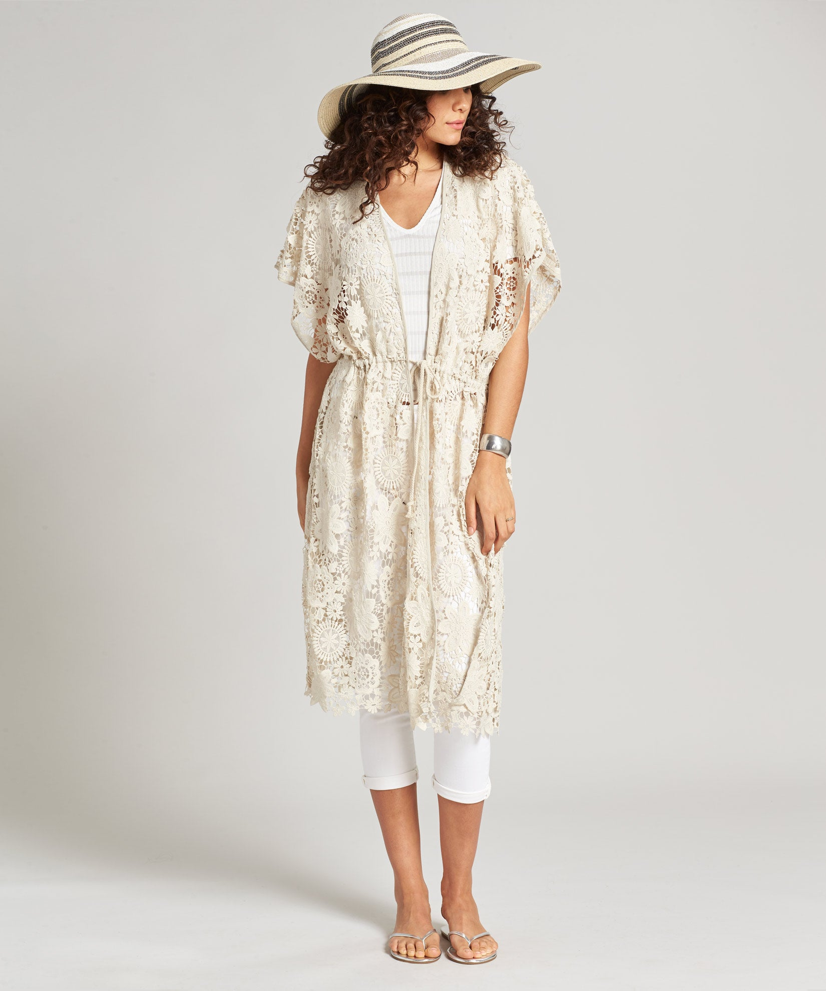 Stone - Lace Open Front Tunic