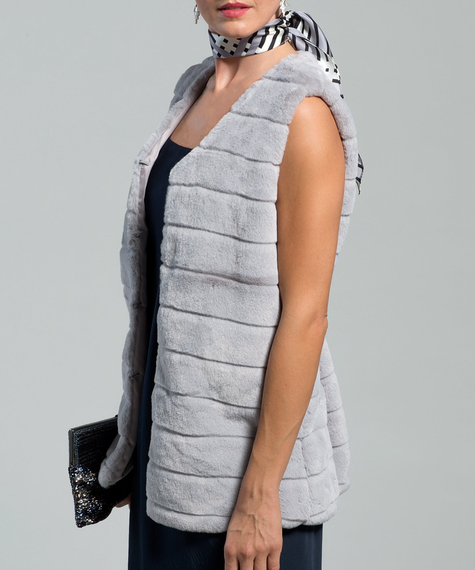 Echo Charcoal - Faux Fur Vest