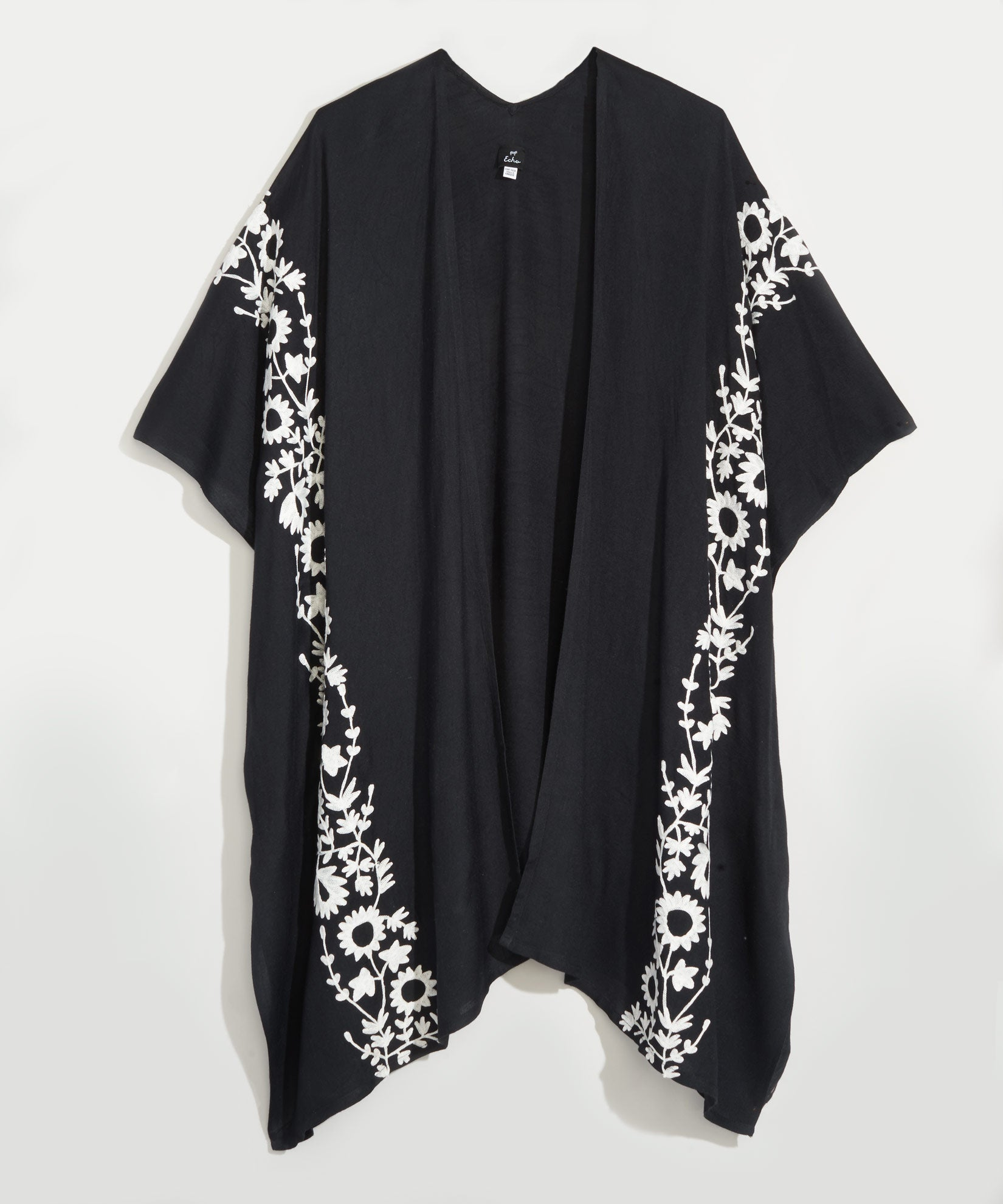 Black - Floral Embroiodery Open Cardi