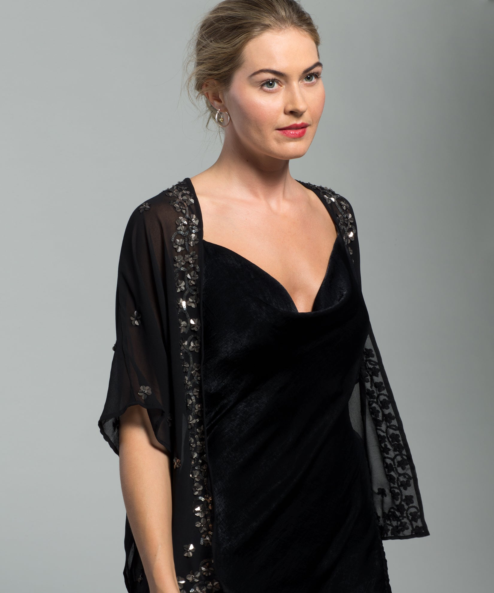 Black - Sequined Floral Bolero