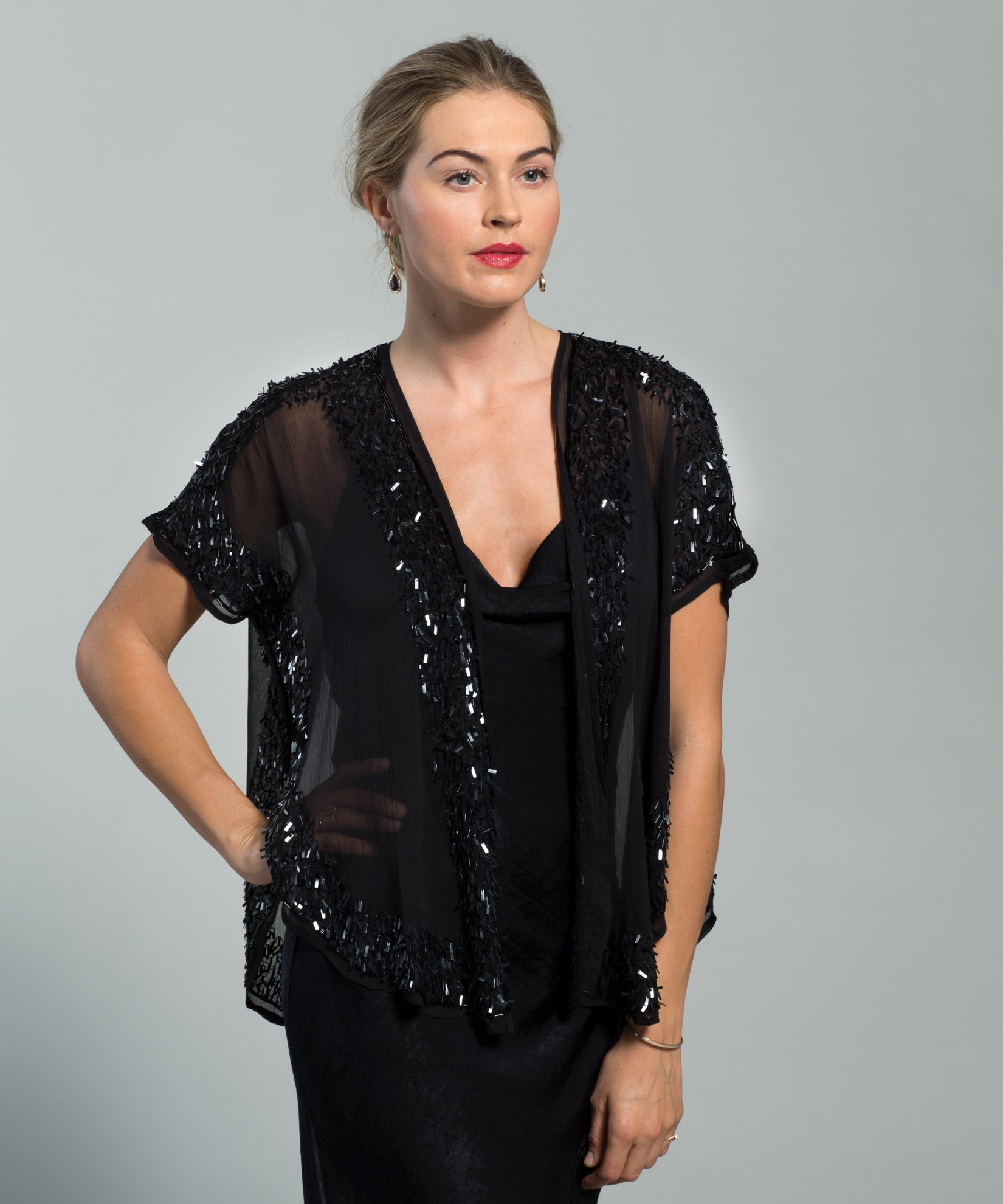 Black - Sparkly Sheer Shrug