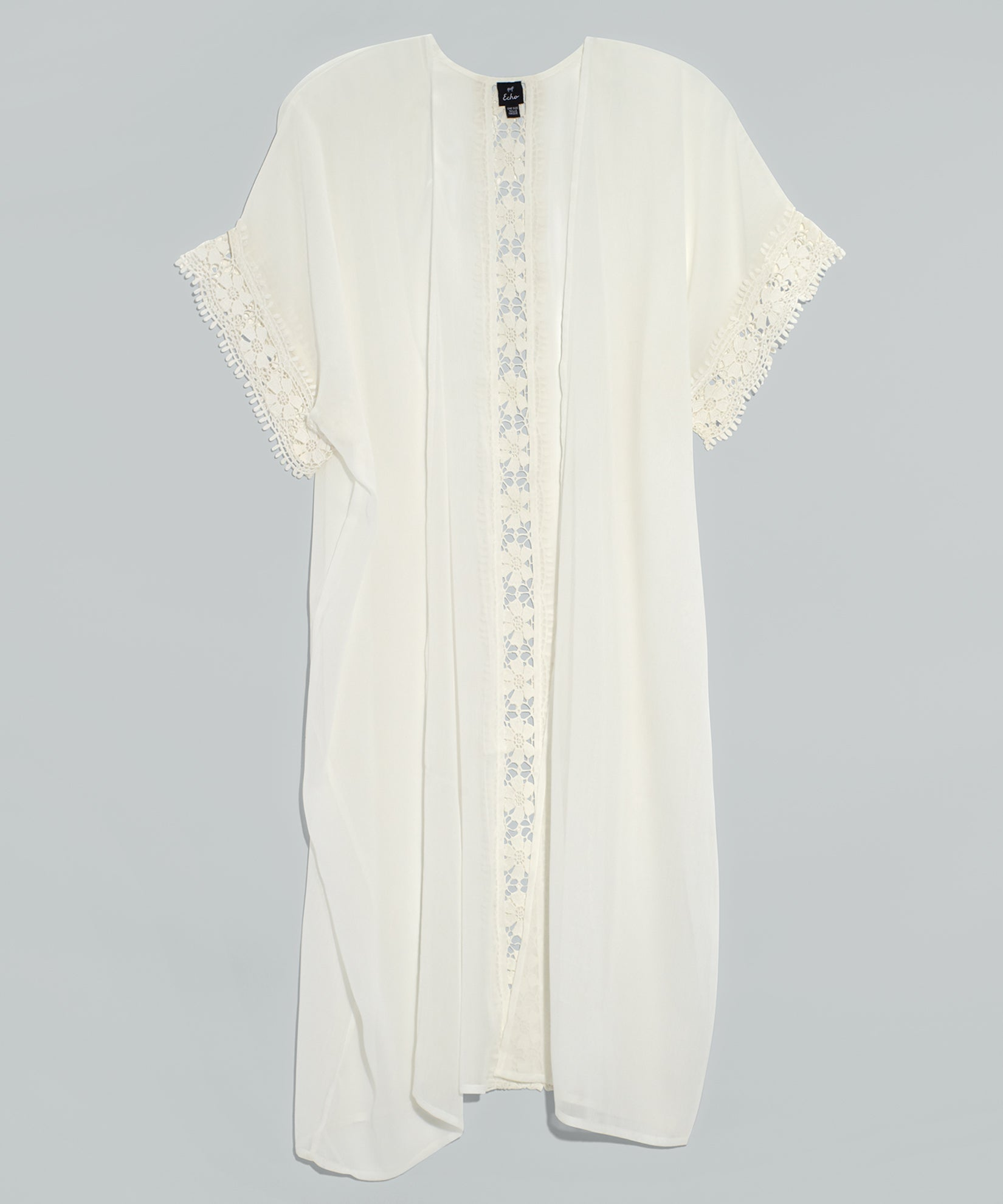White - Solid Chiffon Duster