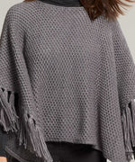 Echo Charcoal - Chunky Knit Poncho With Maxi Tassels