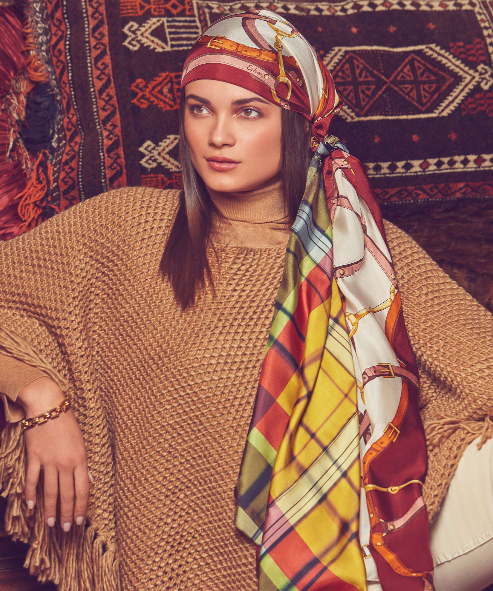 Teak - Chunky Knit Poncho With Maxi Tassels