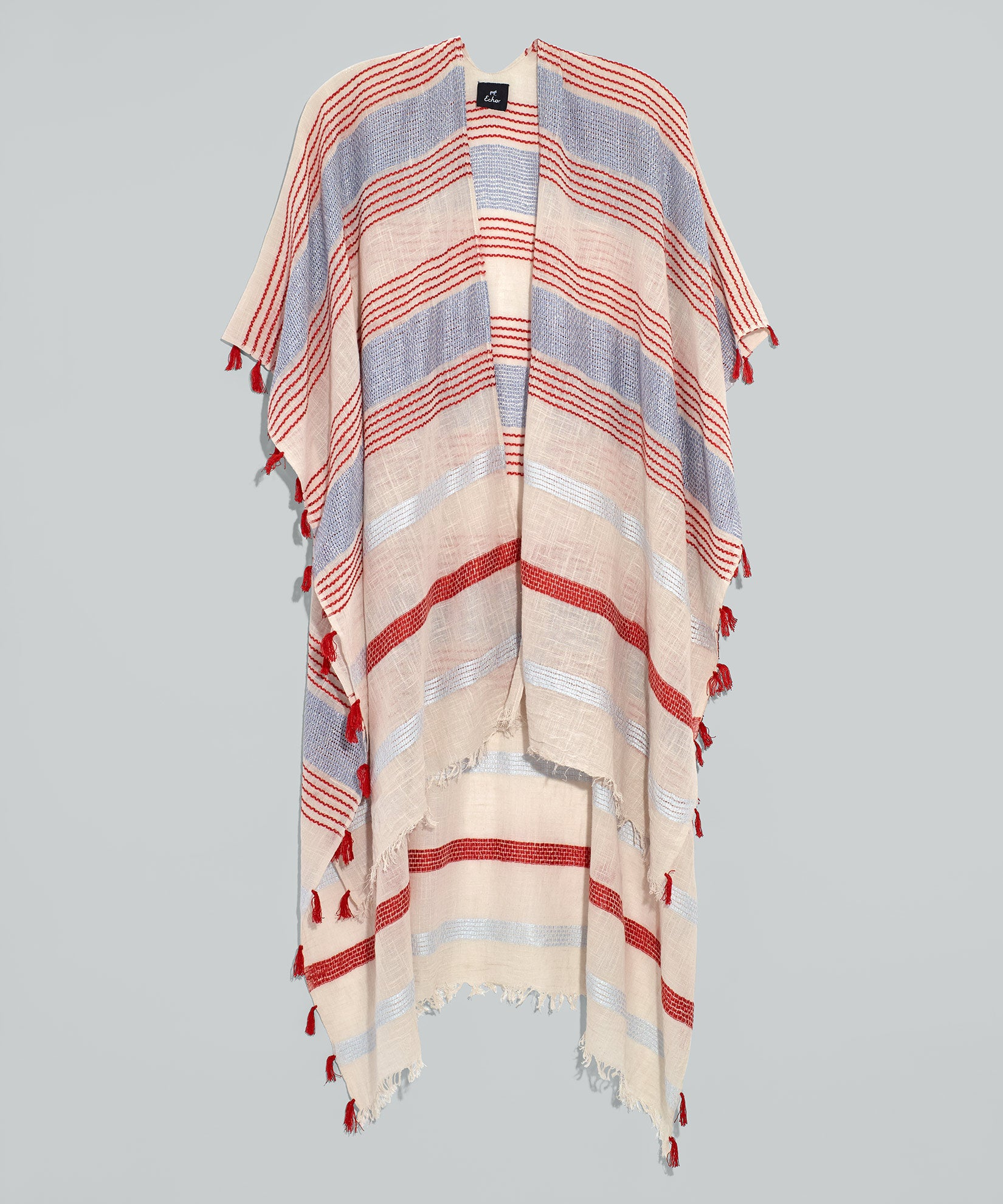 White - La Playa Stripe Ruana