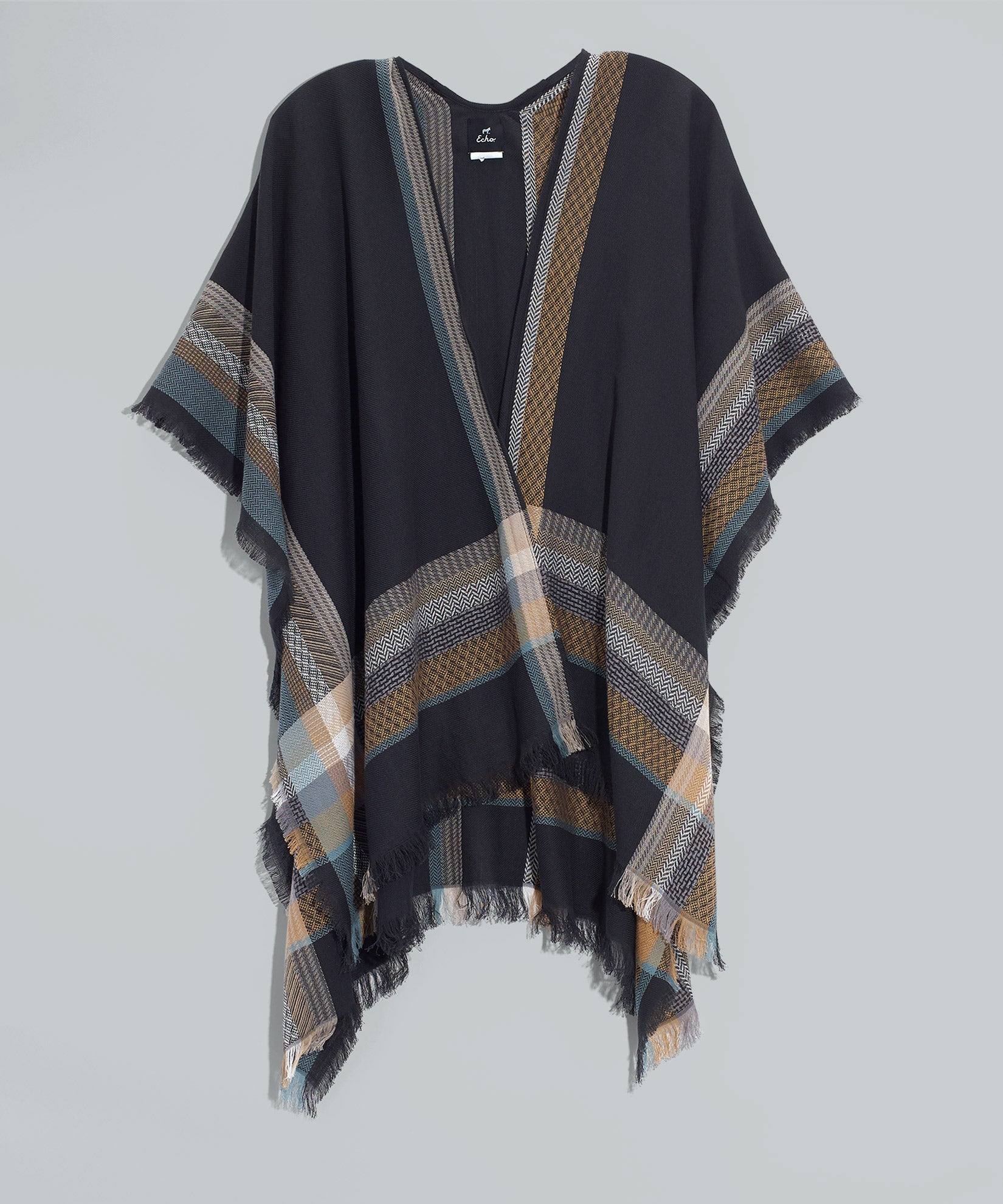 Black - Rainbow Abstract Plaid Ruana