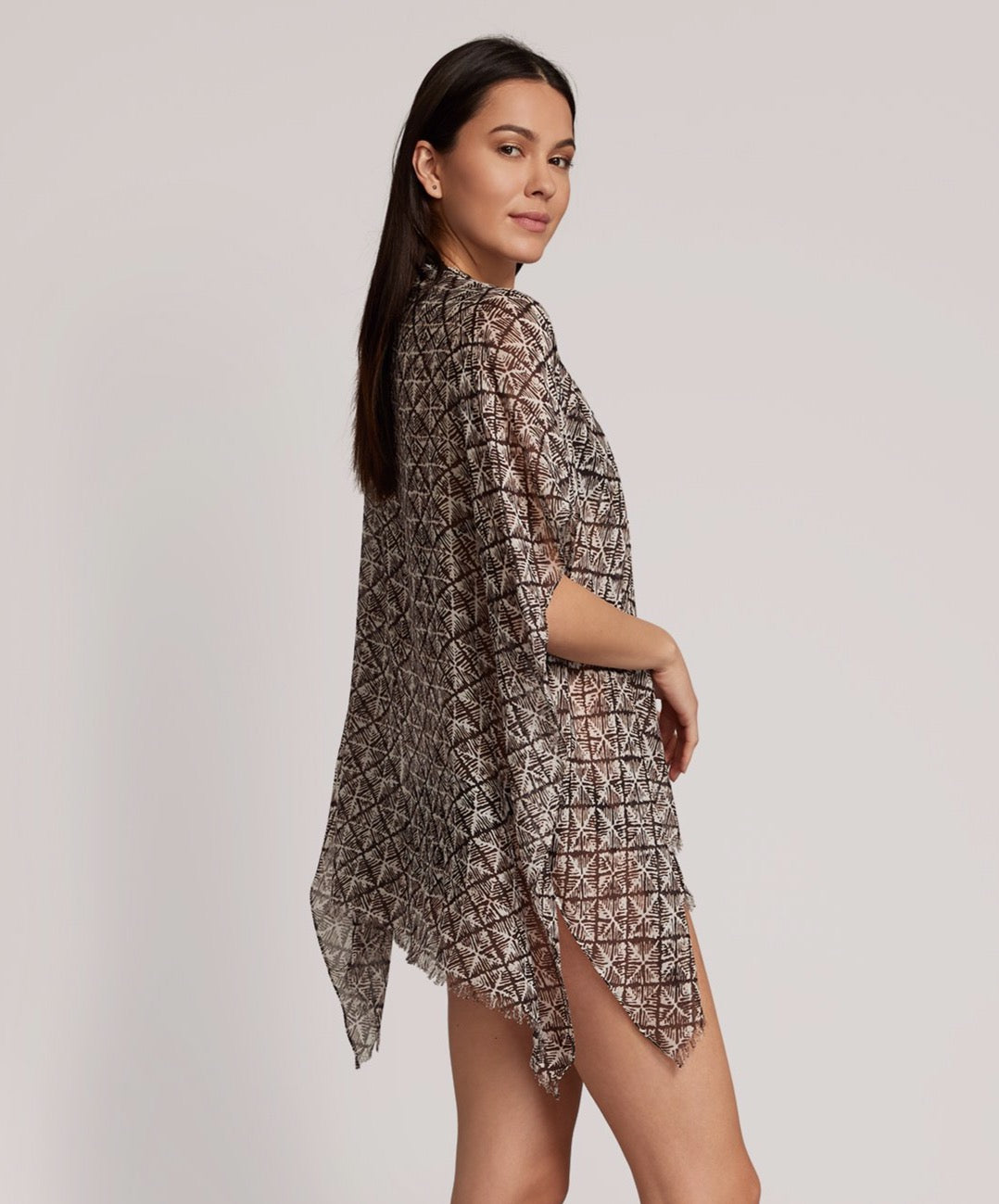 Black - Block Print Ruana