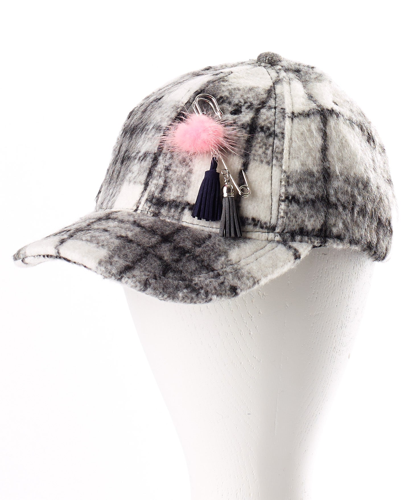 Black - Brushed Plaid Baseball Hat