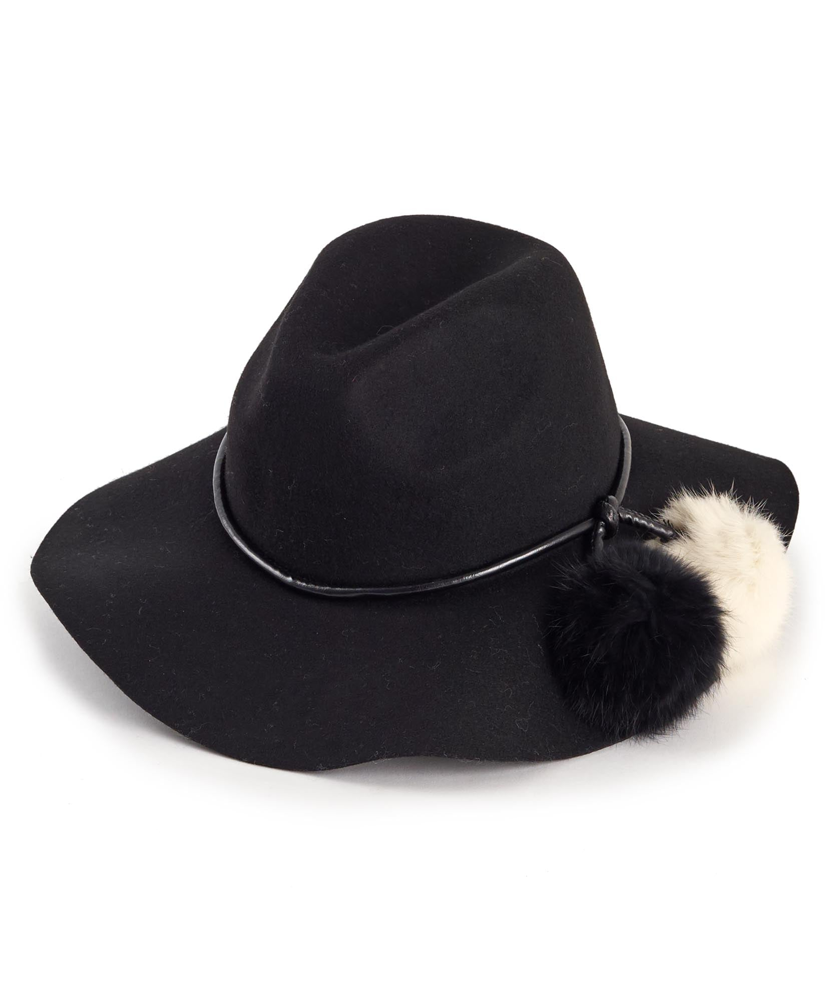Black - Rabbit Fur Pom Hat
