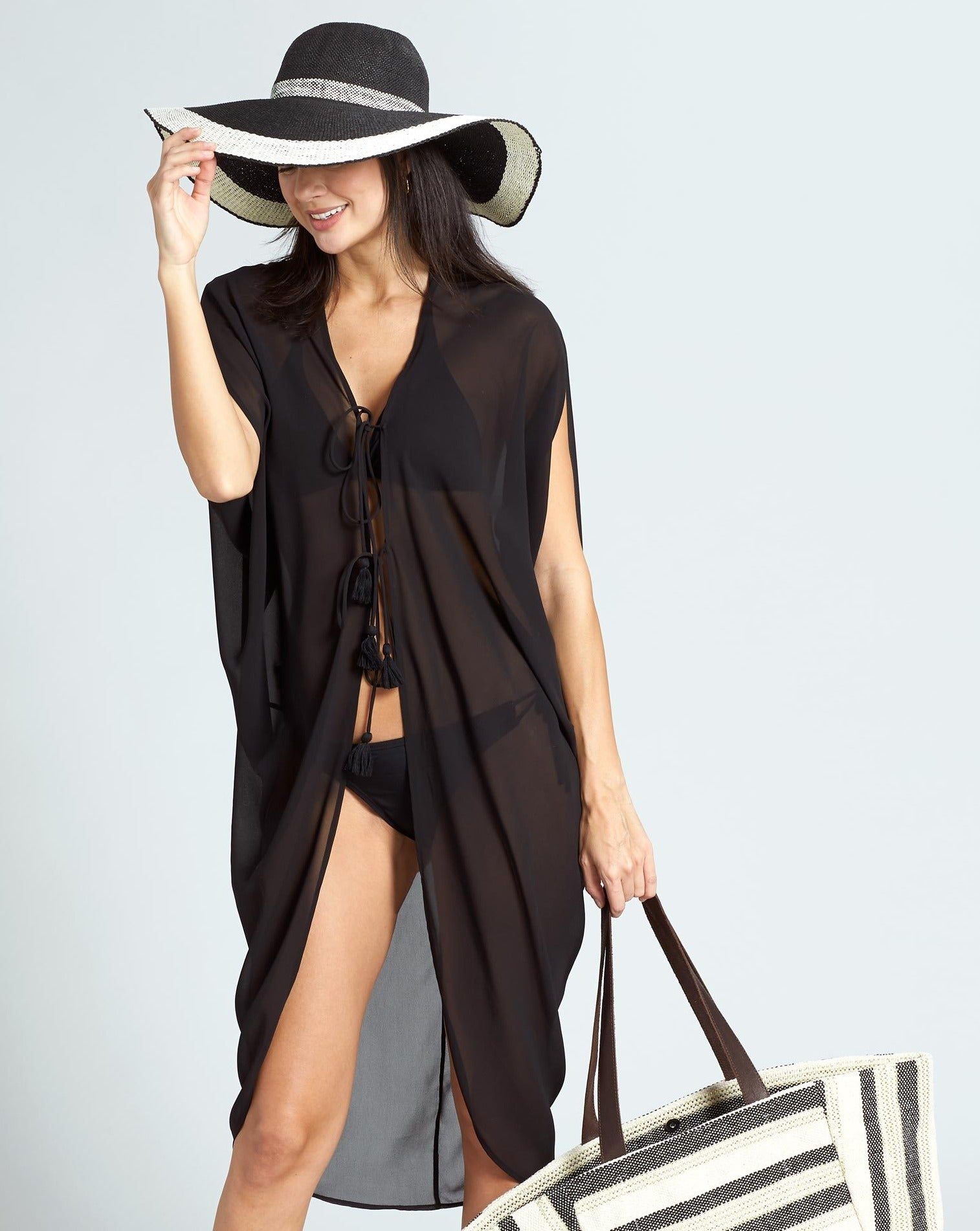 Echo Black - Statement Border Sunhat