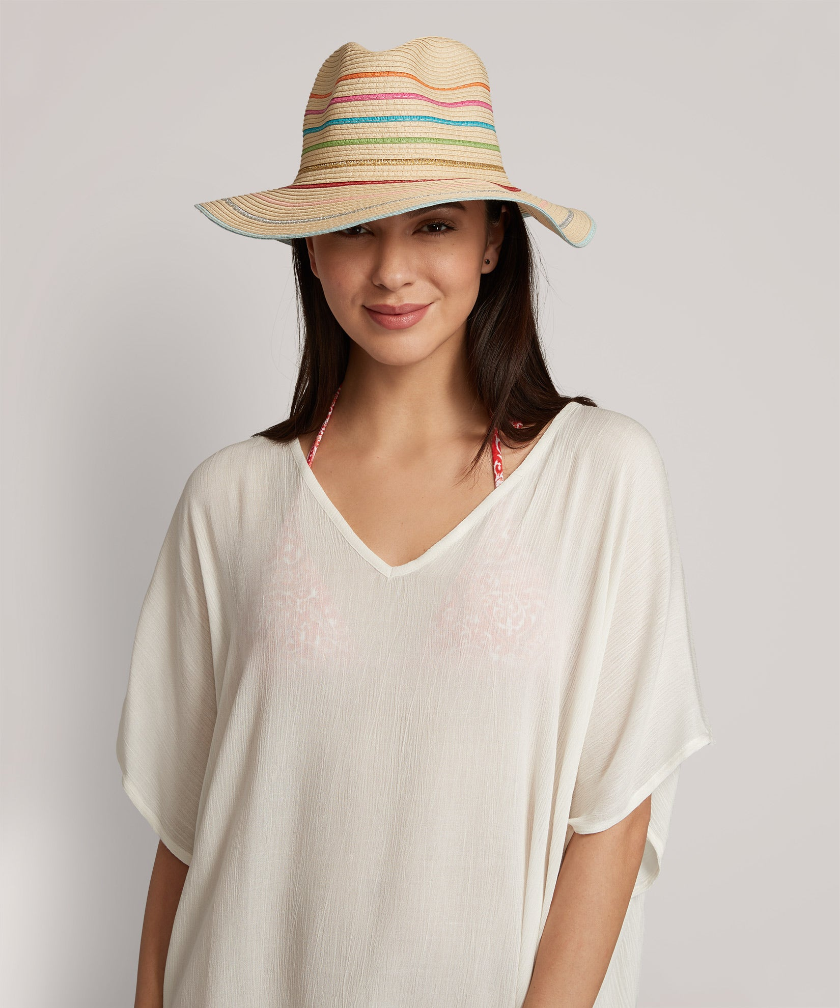Natural - Multi Stripe Fedora