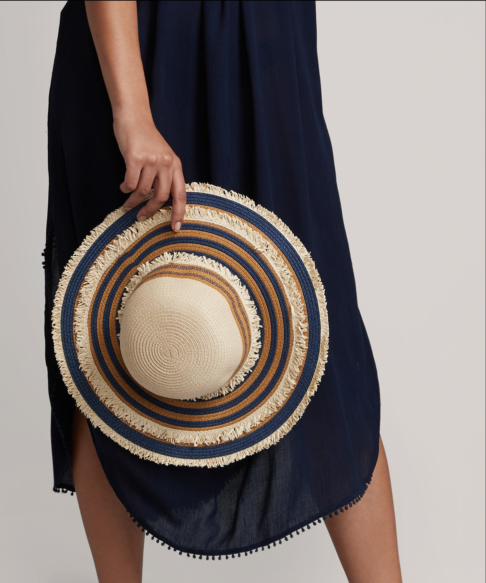 Navy - Floppy Stripe Hat W/ Fringe