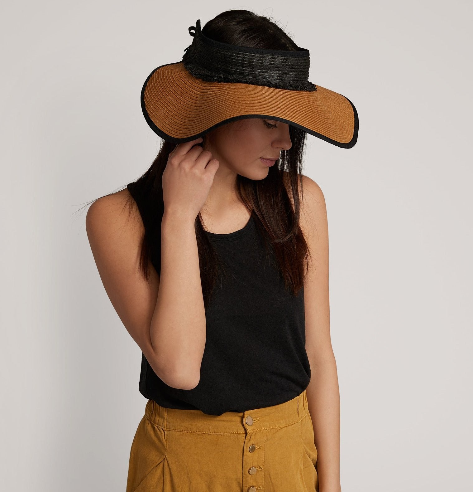 Echo Black - Packable Visor W/Fringe