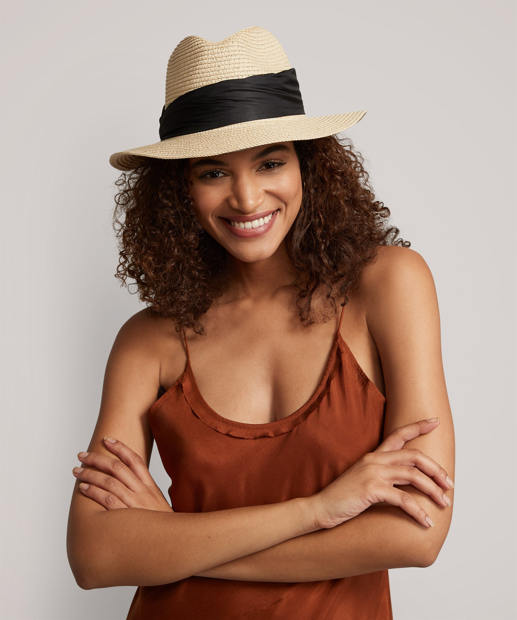Black/Natural - Scarf Wrap Fedora
