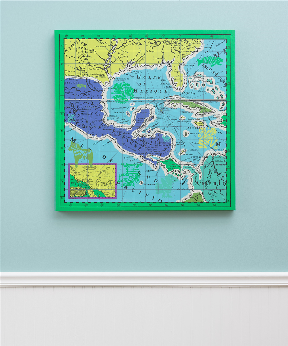 Aquamarine - Mexico Map Canvas