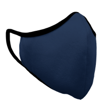 Load image into Gallery viewer, Solid Navy Premium Fitted Face Cover with Black Trim