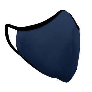 Solid Navy Premium Fitted Face Cover with Black Trim